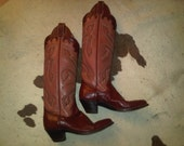 Vintage Pink Mexican Panhandle Slim leather Cowboy Boots size 6 / 6.5A