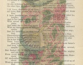 Asian Art Antique Fabric Swatch circa 1840 Printed on Antique Book Page. Free Shipping in US.