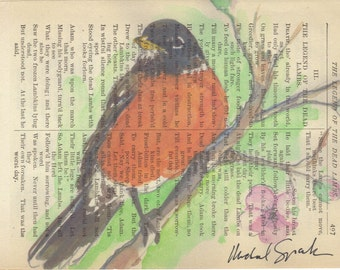 Watercolor Robin on Poetry Page  Signed & Free Shipping in US
