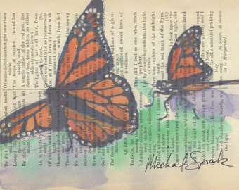 Monarch Butterfly Watercolor Print on Antique Book Page  Signed & Ships Free in US