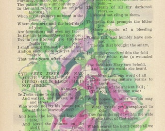 Watercolor Foxgloves Printed on Antique Book Page, free Shipping in US