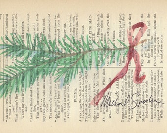 Watercolor Art, Pine Sprig Printed on Antique Book Page.