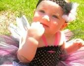 Punk Rocker Girl Black White and Hot Pink Tutu Dress with matching hair accessory Size Newborn 3 mo 6 mo 9 mo 12 mo 18 mo 24 mo 2t 3t 4t 5 6