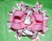 Pink and Brown Monogram Bow pink and brown initial bow brown and pink bow pink and brown hairbow initial hairbow monogram hairbow