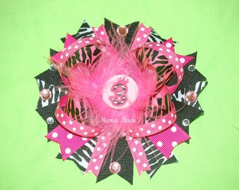 Hot Pink Zebra Birthday Bow Zebra Birthday Party Zebra Birthday Bow Birthday Hairbow Zebra Party Pink Zebra Bow Pink Zebra Hairbow for Girls