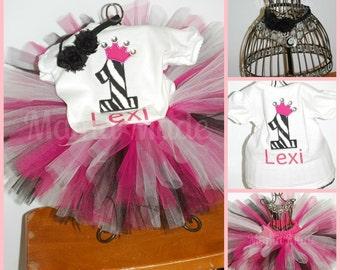 Personalized Blinged Zebra Birthday Tutu Outfit with BODYSUIT Shabby Flower Headband SIZE 6 mo 9 mo 12 mo 18 mo 24 mo