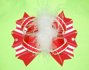 Red and White Stripe Bow Red and White Hairbow Red and White bow With Marabou Marabou Bow candy cane stripe bow red and white Christmas bow