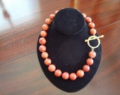 Handknotted Sponge Coral Beads with Fabulous Large Toggle