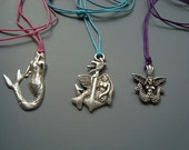 Preppy Mermaid  Pewter Charm on Preppy Cord