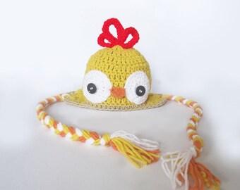 Crochet chicken hat made to order