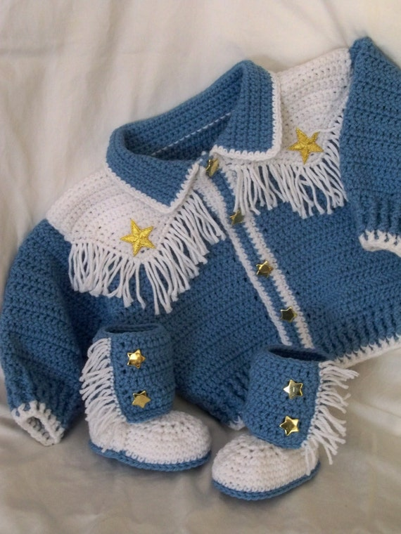 Adorable Fringed Cowboy Style Sweater and Booties- 6-9 mo.