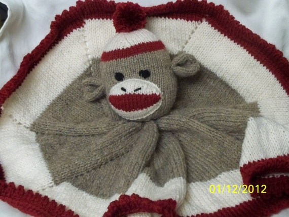 Sock Monkey Lovey Blanket-Tan