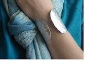 Silver Cuff Bracelet-Hammered Aluminum-Night Life Cuff