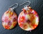 Bright Colorful Flower Shell Earrings, Orange, Purple, Yellow, Pink, Coral, Red, Peach Earrings-A Splash of Summer Earrings