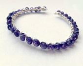 Purple Amethyst Sterling Silver 14K Gold Fill Cuff Bangle Bracelet-The Grape Vine Bracelet