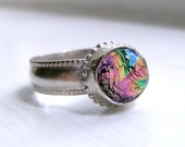 Sparkly Dichroic Glass Ring,Made to Order-The Kaleidoscope Ring