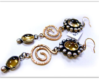 Citrine Earrings in Sterling Silver and 14K Solid Yellow Gold, OOAK, November Birthstone-The Million Dollar Earrings