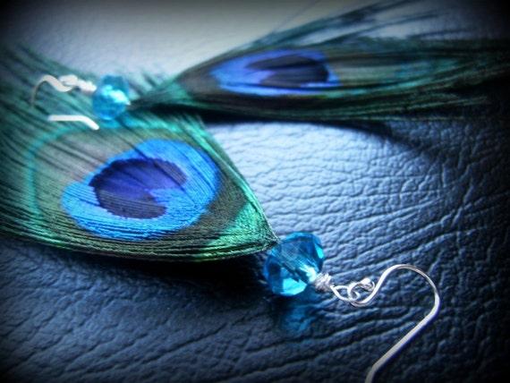 Peacock Earrings, Feather Earrings, Peacock Feather Earrings-The Flight of Fantasy Earrings