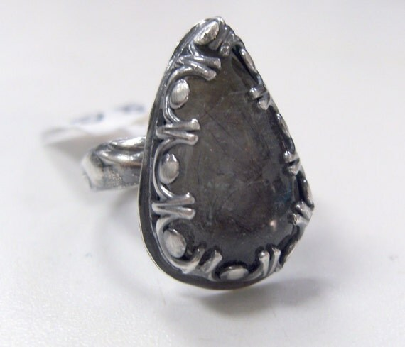 Afraid of the Dark Ring-Rutilated Quartz and Oxidized Sterling Silver Pear Ring