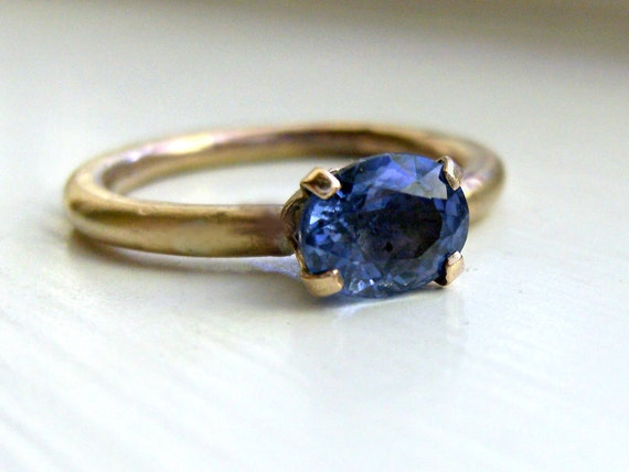 Bright Blue Sapphire Ring in Gold Fill and Brass