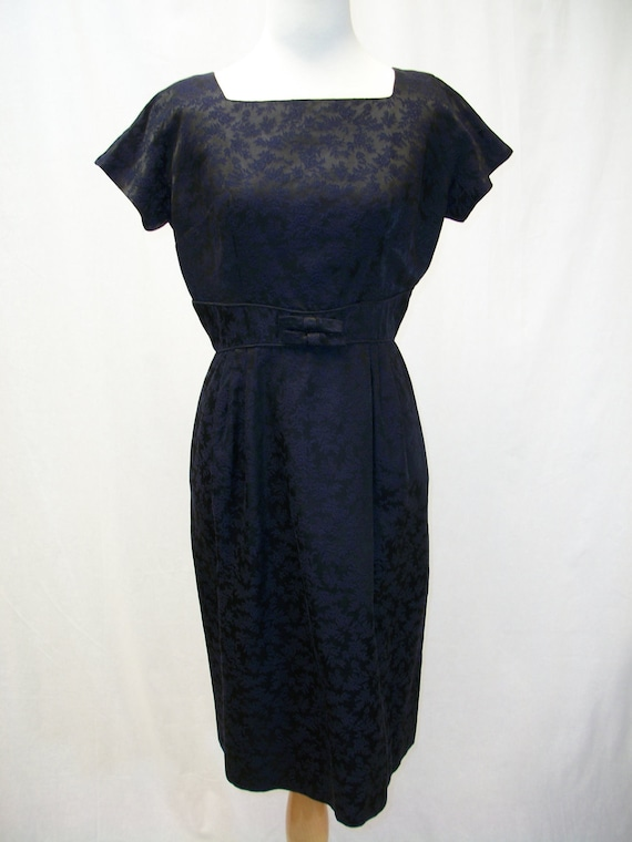On RESERVE for LINDA: 1960s black & navy cotton brocade party dress and jacket