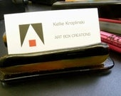 Root Beer Float Fused Glass Business Card Holder