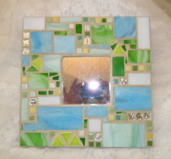 pastel green and blue mosaic stained glass mirror - home decor