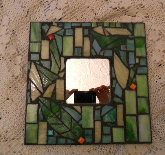 evening garden stained glass mosaic mirror home decor