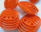 1960s Vintage plastic buttons - Set of 8 - Orange pierced lattice - LARGE