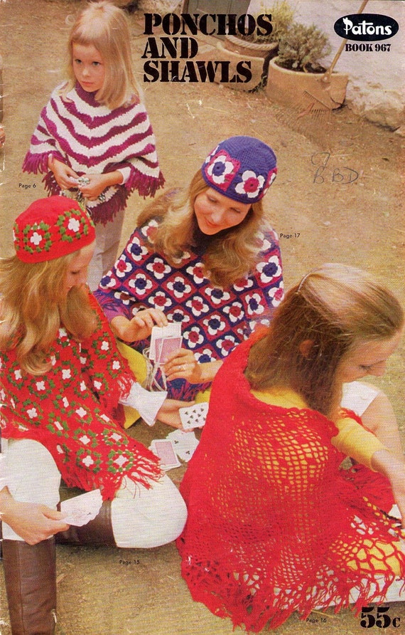1970s VINTAGE CROCHET and KNIT PATTERNS - 15 DESIGNS - PONCHOS SHAWLS and CAPS - PATTERN  BOOKLET NOT PDF