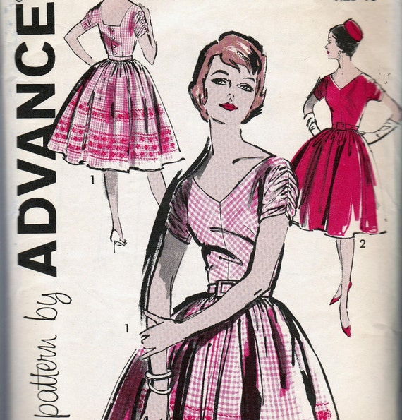 60s Vintage Sewing Pattern Advance 9672 Dress with Full Skirt Size 16 Bust 36