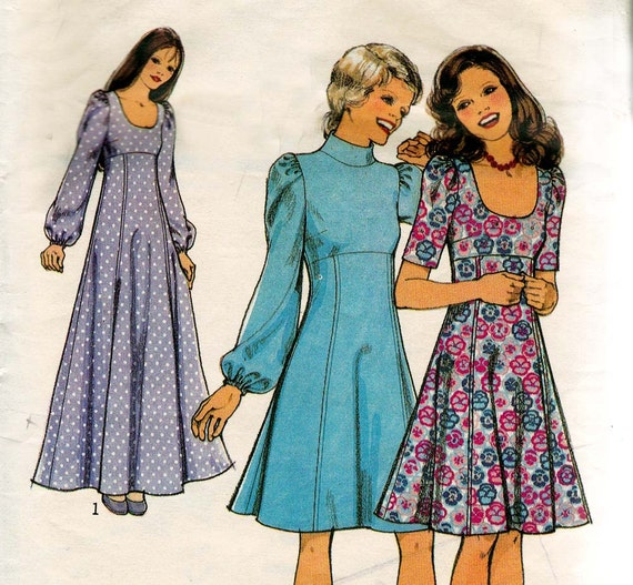 Vintage Sewing Pattern 1970s Dress & Maxi Bust 34 Size 12