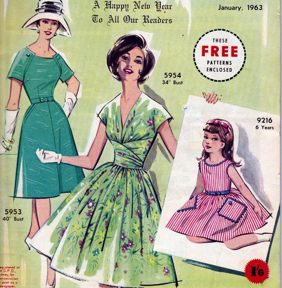 Vintage Australian Home Journal Magazine with 3 Unused Dress Patterns January 1963 issue