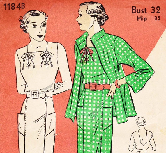 1930s Vintage Plunge Back Dress & Jacket Pattern  DuBarry 1184B Bust  32