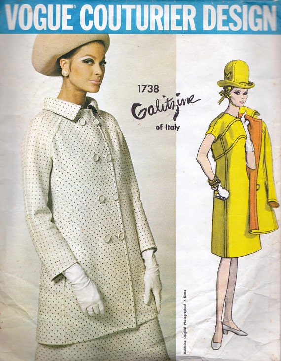 Sz 14 60s Vintage Vogue Couturier Sewing Pattern 1738 by Galitzine A Line Dress & Coat  Bust 34