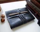 Handmade Notebook Journal A5- black Leather - white paper