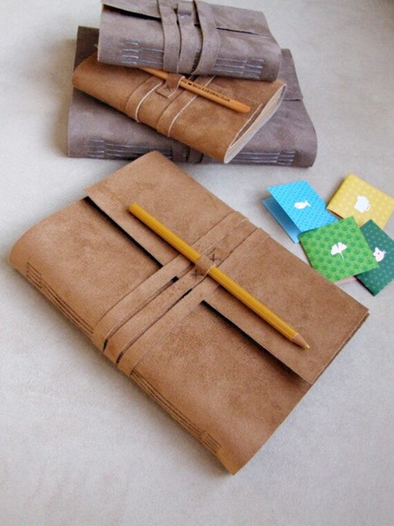 Handmade Suede Leather Cover Notebook Journal A5