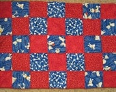 Crazy Dog Blue - Quilted dog blanket for small to medium sized breeds