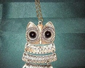 18 inch multi level antique big eyed brass owl necklace