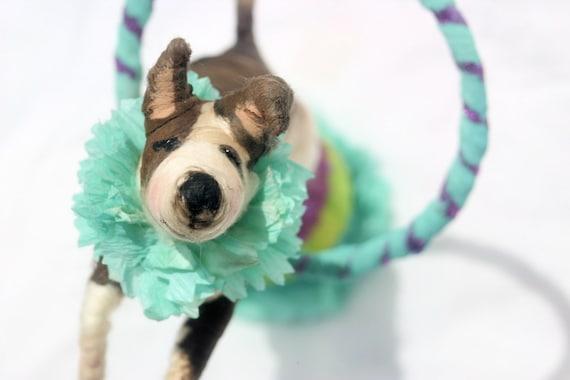 Ooak- Spun Cotton Decor - Jack Russell Terrior- Circus Dog -Hula Hoop-