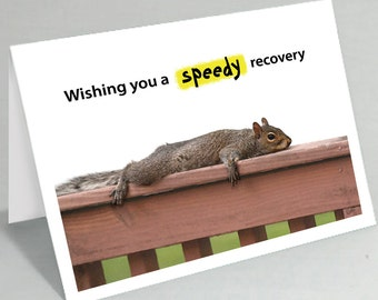 Get well card - Feel better card - Wishing you a speedy recovery squirrel greeting card - Cute card funny card (Blank inside)