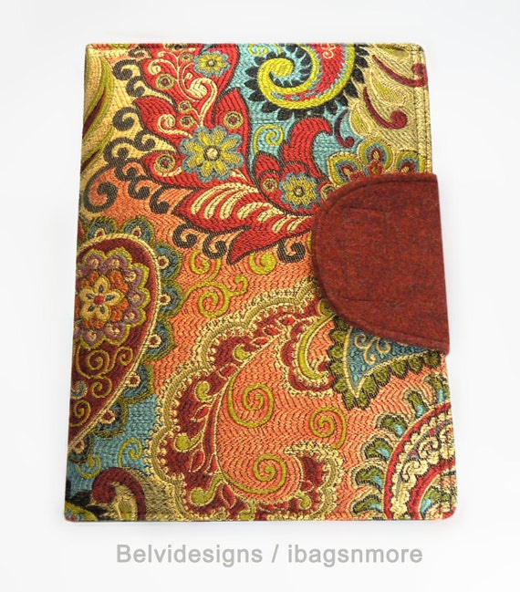 iPad 2 iPad 3 iPad 4 case cover sleeve - Fancy colorful jewel-tone tapestry upholstery fabric - Red gold green blue mustard