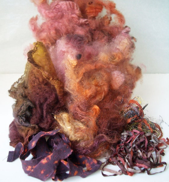 Wool Locks Felter and Spinners Kit....Wool..Sparkle...Novelty Yarn...Silk Hankie...Shibori Silk