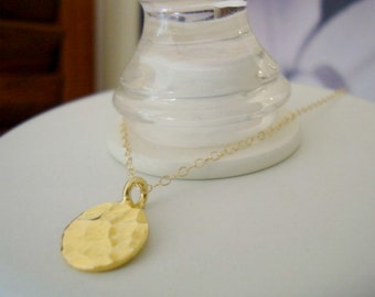 sunspot pendant - gold vermeil disk - simple classic jewelry - beautiful for wedding bridesmaids