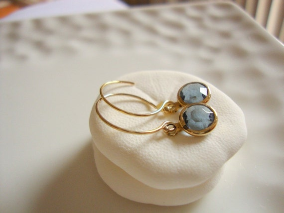indian blue earrings - 14k gold filled earwires - tiny vintage glass jewelry