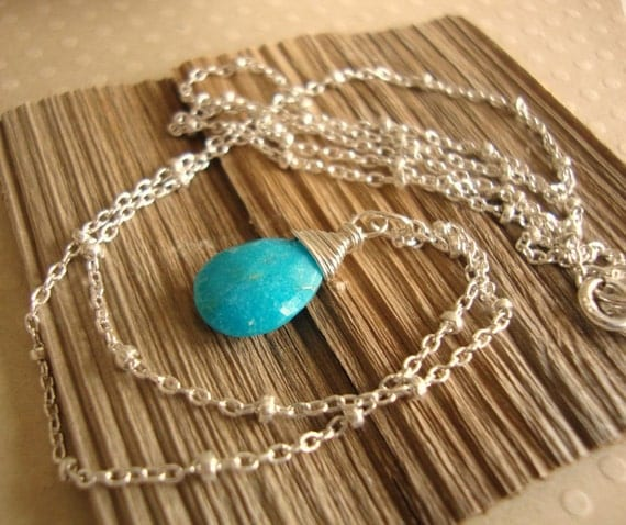 sleeping beauty - gorgeous turquoise teardrop - sterling silver chain - simple gemstone jewelry