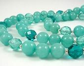 Aquamarine Gemstone Necklace with Aqua Sea Foam Teal and Silver Beads