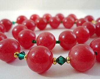 Red Necklace Red Quartz Necklace Red Gemstone Necklace Red Green Crystal Quartz Gemstone Necklace