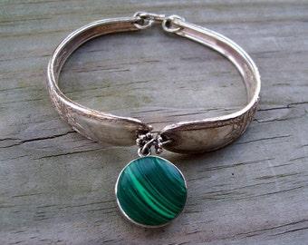 Vintage Sterling Silver Art Nouveau Spoon Bracelet Malachite Charm