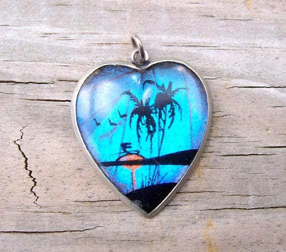 Vintage Silver Heart Butterfly Wing Beach Scene